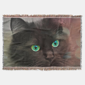 Cat Green Eyes Throw Blanket