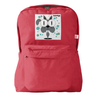 Cat(Grey) Backpack, Red Backpack