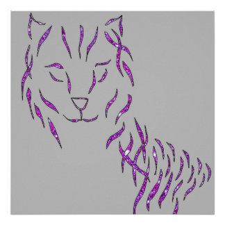 Cat Grey Pink Purple Sparkly Glitter Style Poster