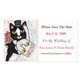 Cat Groom Bride Save The Date Wedding Card Business Cards