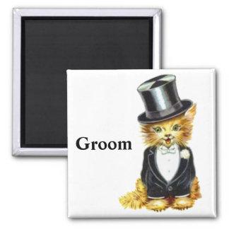 Cat Groom Square Magnet