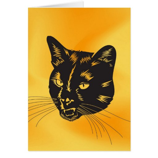 Cat Halloween Meou Whiskers hiss omen Card