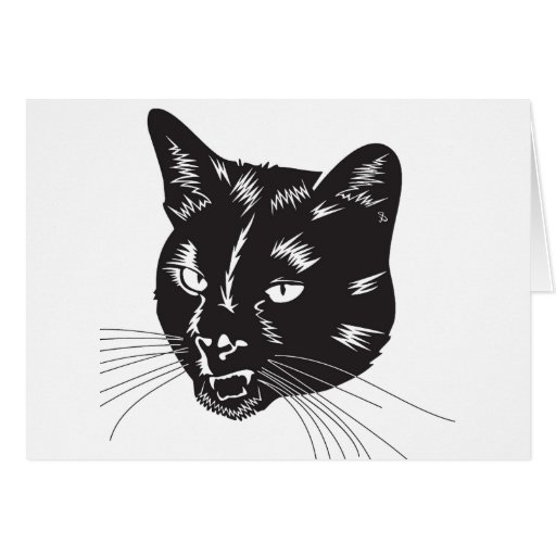 Cat Halloween Meou Whiskers hiss omen Cards