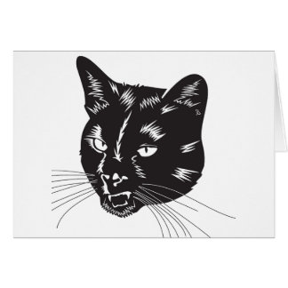 Cat Halloween Meou Whiskers hiss omen Greeting Card