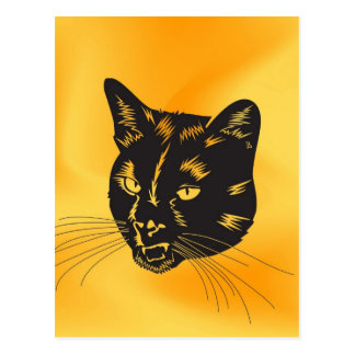 Cat Halloween Meou Whiskers hiss omen Post Card