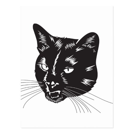 Cat Halloween Meou Whiskers hiss omen Post Cards