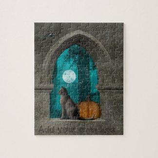 Cat Halloween window puzzle customize photo & text