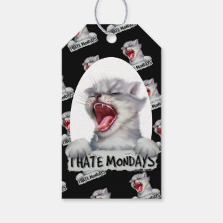 CAT HATE 2 MONDAY CARTOON GIFT TAG MATTE