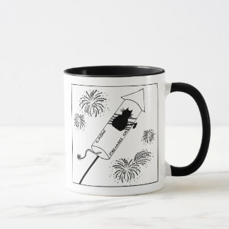 Cat Haters Fireworks Cartoon Mug