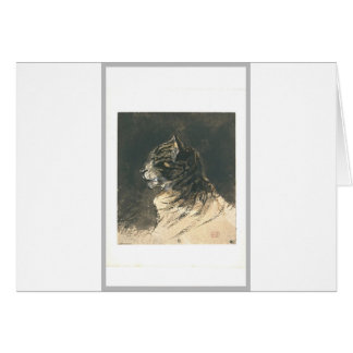 Cat head by Eugene Delacroix Greeting Card