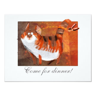 cat hears a can-opener 11 cm x 14 cm invitation card