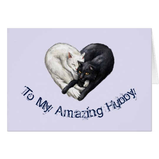 Cat Heart Husband Birthday Card