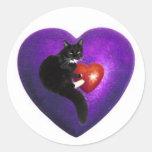 Cat Heart Round Stickers