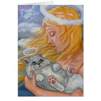 CAT HEAVEN White Persian Cat Angel Card