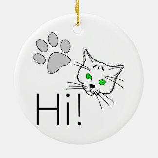 Cat - Hi! Round Ceramic Decoration