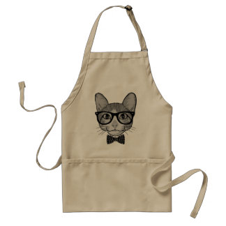 Cat Hipster with Polka Dots Bow Tie Apron