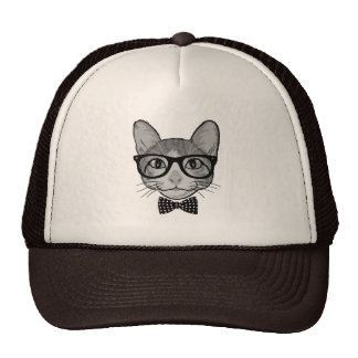 Cat Hipster with Polka Dots Bow Tie Mesh Hats