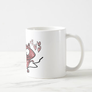 Cat holding flowers and hearts meow...so cute coffee mug