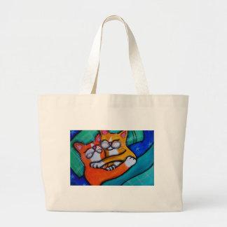 Cat Hugs Large Tote Bag