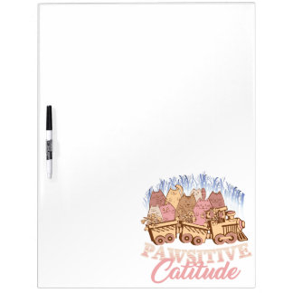 Cat Humor - Pawsitive Attitude - Funny Novelty Dry Erase Board