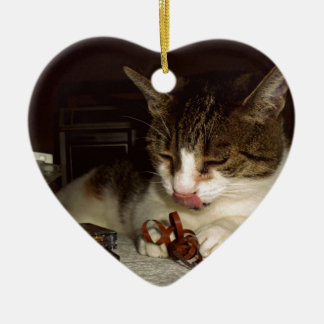 Cat Hungry For Cassettes Ceramic Heart Decoration