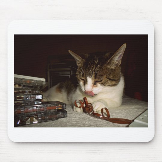 Cat Hungry For Cassettes Mouse Mat