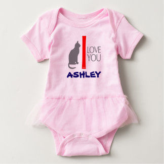 Cat + I Love You ''YOUR NAME'' Custom by VIMAGO Baby Bodysuit