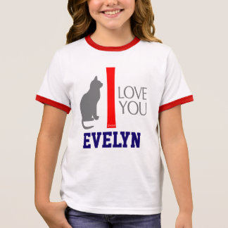 Cat + I Love You ''YOUR NAME'' Custom by VIMAGO Ringer T-Shirt