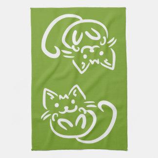 Cat Illustration custom color kitchen towels