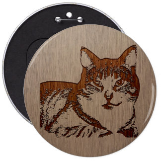 Cat illustration engraved on wood design 6 cm round badge