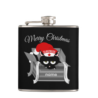 Cat in a box Merry Christmas Hip Flask