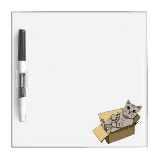 Cat in a Cardboard Box Illustration Dry-Erase Board