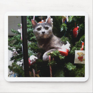 Cat in a Christmas tree Mouse Pads
