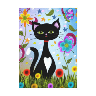 Cat In A Garden Abstract Art Canvas Print