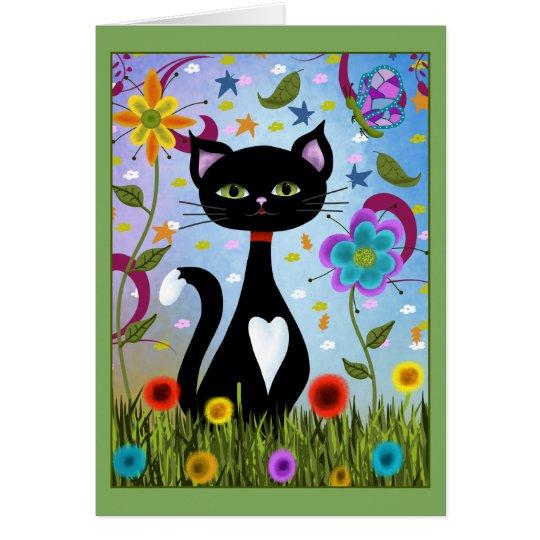Cat In A Garden Abstract Art Card
