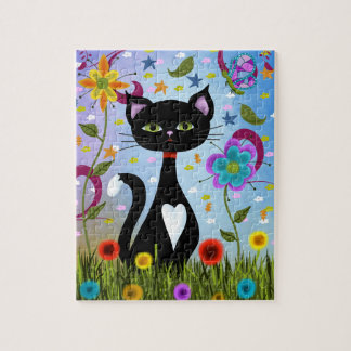 Cat In A Garden Abstract Art Jigsaw Puzzle