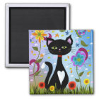 Cat In A Garden Abstract Art Magnet