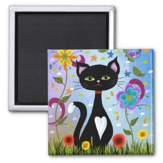 Cat In A Garden Abstract Art Magnet
