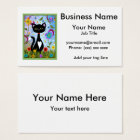 Cat In A Garden Abstract Art  Personalised Business Card