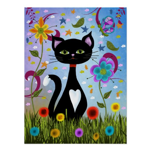 Cat In A Garden Abstract Art Poster