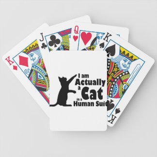 Cat in a human suit bicycle playing cards