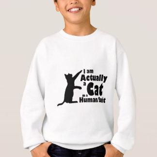 Cat in a human suit sweatshirt