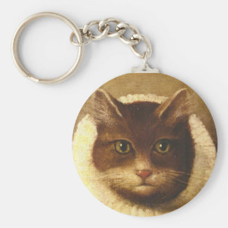 Cat In A Ruff Cute Victorian Art Vintage Painting Key Chains