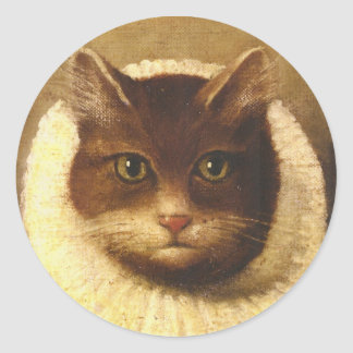 Cat In A Ruff Cute Victorian Art Vintage Painting Round Sticker