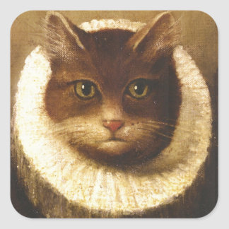 Cat In A Ruff Cute Victorian Art Vintage Painting Square Sticker