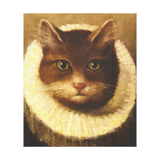 Cat In A Ruff Cute Victorian Art Vintage Painting Stretched Canvas Print