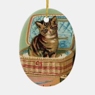 Cat in a Sewing Basket Christmas Ornament