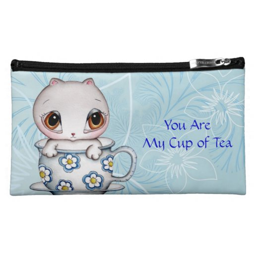 Cat in a Teacup Sueded Medium Cosmetic Bag