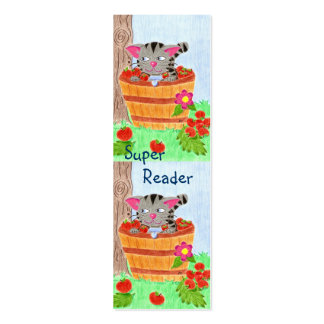 Cat in apple basket mini bookmarks business cards