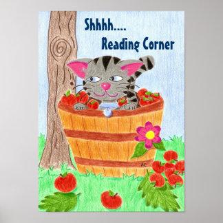 Cat in apple basket , reading corner poster